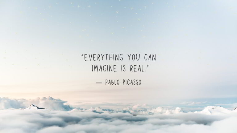 TaustakAnything you can imagine is real Pablo Picasso Taustakuvauvat Anything you can imagine is real Pablo Picasso taustakuva pilvillä ja motivaatio lauseella